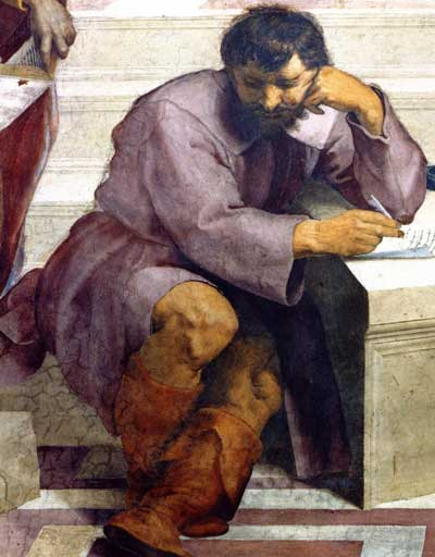 This image has an empty alt attribute; its file name is Heraclitus-in-school-of-athens-pic.jpg